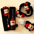 Classic Cartoon Minnie Mouse Velvet Car Inner Automotive Decoration Sets 5pcs - Black