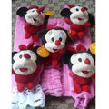 Classic Cartoon Minnie Mouse Velvet Car Inner Automotive Decoration Sets 5pcs - Pink