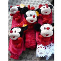 Classic Cartoon Minnie Mouse Velvet Car Inner Automotive Decoration Sets 5pcs - Rose