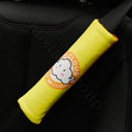 Classic Cartoon Mr Cloud Velvet Automotive Seat Safety Belt Covers Car Decoration 2pcs - Yellow