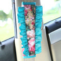 Classic Flower Lace MocMoc Cotton Automotive Seat Safety Belt Covers Car Decoration 2pcs - Blue