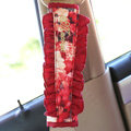 Classic Flower Lace MocMoc Cotton Automotive Seat Safety Belt Covers Car Decoration 2pcs - Red