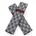 Classic Gucci Ice silk Automotive Seat Safety Belt Covers Car Decoration 2pcs - Gray