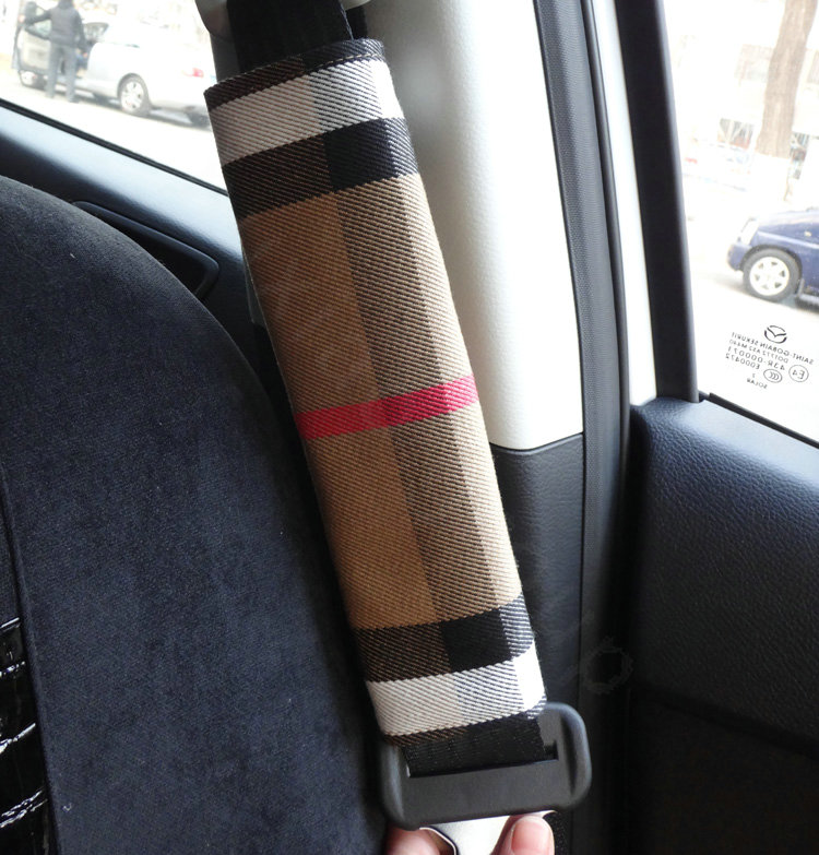 Buy Wholesale Classic Synthetic Fiber Burberry Grid Auto Seat Safety Belt Covers Car Decoration