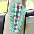 Classic grid Lace MocMoc Cotton Automotive Seat Safety Belt Covers Car Decoration 2pcs - Green