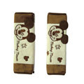 Cool Cartoon Mickey Mouse Velvet Automotive Seat Safety Belt Covers Car Decoration 2pcs - Brown