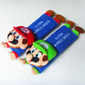 Cool Super Mario Velvet Automotive Seat Safety Belt Covers Car Decoration 2pcs - Blue
