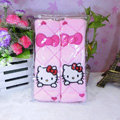 Cute Bowknot Hello Kitty Velvet Automotive Seat Safety Belt Covers Car Decoration 2pcs - Pink
