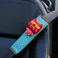 Cute Cartoon Carinono Bear Velvet Automotive Seat Safety Belt Covers Car Decoration 2pcs - Blue+Red