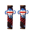 Cute Cartoon Carinono Monkey Velvet Automotive Seat Safety Belt Covers Car Decoration 2pcs - Blue+Red