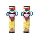 Cute Cartoon Carinono Monkey Velvet Automotive Seat Safety Belt Covers Car Decoration 2pcs - Blue+Yellow