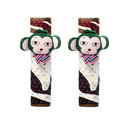 Cute Cartoon Carinono Monkey Velvet Automotive Seat Safety Belt Covers Car Decoration 2pcs - Coffee+Green