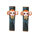 Cute Cartoon Carinono Monkey Velvet Automotive Seat Safety Belt Covers Car Decoration 2pcs - Orange