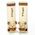 Cute Cartoon Coola Diffe Panda Velvet Automotive Seat Safety Belt Covers Car Decoration 2pcs - Beige