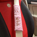 Cute Cartoon Winnie the Pooh Velvet Automotive Seat Safety Belt Covers Car Decoration 2pcs - Pink