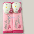 Cute Hello Kitty Velvet Automotive Seat Safety Belt Covers Car Decoration 2pcs - Pink
