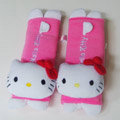 Cute Hello Kitty Velvet Automotive Seat Safety Belt Covers Car Decoration 2pcs - Rose