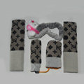 Cute LV print Bear Velvet Car Inner Automotive Decoration Sets 5pcs - Gray