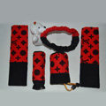 Cute LV print Bear Velvet Car Inner Automotive Decoration Sets 5pcs - Red