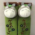 Cute Totoro Cat Velvet Automotive Seat Safety Belt Covers Car Decoration 2pcs - Green