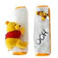 Cute Winnie the Pooh Velvet Automotive Seat Safety Belt Covers Car Decoration 2pcs - Yellow+White