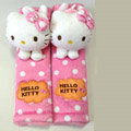 Furry Hello Kitty Velvet Automotive Seat Safety Belt Covers Car Decoration 2pcs - Pink