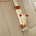 Unique Cartoon Rice soup dog Velvet Automotive Seat Safety Belt Covers Car Decoration 2pcs - Coffee