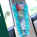 Unique Flower Lace MocMoc Cotton Automotive Seat Safety Belt Covers Car Decoration 2pcs - Blue