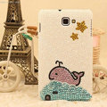 Bling Whale Crystal Cases Pearls Cover for Samsung Galaxy S5 i9600 - White