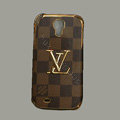 LOUIS VUITTON LV Classic plaid leather Case Hard Back Cover for Samsung Galaxy S5 i9600 - Brown