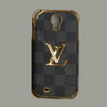 LOUIS VUITTON LV Classic plaid leather Case Hard Back Cover for Samsung Galaxy S5 i9600 - Gray