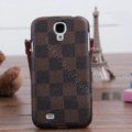 LV LOUIS VUITTON Classic plaid leather Case Hard Back Cover for Samsung Galaxy S5 i9600 - Brown