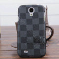LV LOUIS VUITTON Classic plaid leather Case Hard Back Cover for Samsung Galaxy S5 i9600 - Gray