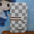 LV LOUIS VUITTON Classic plaid leather case Holster cover for Samsung Galaxy S5 i9600 - White