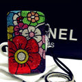 Luxury Flower Bling Crystal Case Holster Leather Cover for Samsung Galaxy S5 i9600 - Black