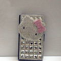 Luxury Hello Kitty Bling Crystal Case Holster Leather Cover for Samsung Galaxy S5 i9600 - White