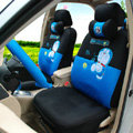 Classic Cartoon Universal Doraemon Plush Velvet Auto Car Seat Cover 18pcs Sets - Blue