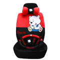 Classic Winnie the Pooh Automoble Universal Auto Car Seat Covers Velvet Plush Sets 18pcs - Red