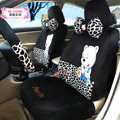 Classic Winnie the Pooh Leopard Print Universal Auto Car Seat Covers Velvet Plush Sets 18pcs - Black