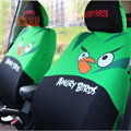 Cute Angry Birds Cartoon Universal Auto Car Seat Cover Sets Cotton Cloth 10pcs - Green