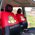 Cute Baby Milo Cartoon Universal Auto Car Seat Cover Sets Cotton Cloth 10pcs - Red