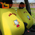 Cute Hello Kitty Cartoon Universal Auto Car Seat Cover Sets Cotton Cloth 10pcs - Yellow