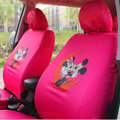 Cute Mickey Minnie Mouse Disney Cartoon Universal Auto Car Seat Cover Sets Cotton Cloth 10pcs - Red