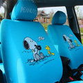 Cute Snoopy Cartoon Universal Auto Car Seat Cover Sets Cotton Cloth 10pcs - Blue