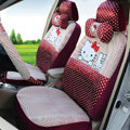 Funky Oulilai Hello Kitty Polka Dot Universal Automobile Car Seat Cover Sandwich 18pcs - Rose