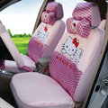 Luxury Oulilai Hello Kitty Polka Dot Universal Automobile Car Seat Cover Sandwich 18pcs - Pink