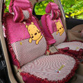 Luxury Winnie the Pooh Polka Dot Ice Silk Bud Silk Universal Auto Car Seat Cover Sandwich 26pcs Sets - Rose