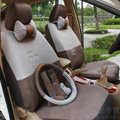 Quality Cartoon Transformer Decepticon Universal Automobile Car Seat Cover Sandwich 18pcs Sets - Brown
