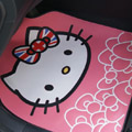 British Flag Hello Kitty Rose Flower Universal Automobile Carpet Car Floor Mats Rubber 5pcs Sets - Pink