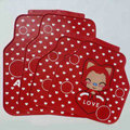Classic Ali Heart Cartoon Universal Automotive Carpet Car Floor Mats Rubber 5pcs Sets - Red